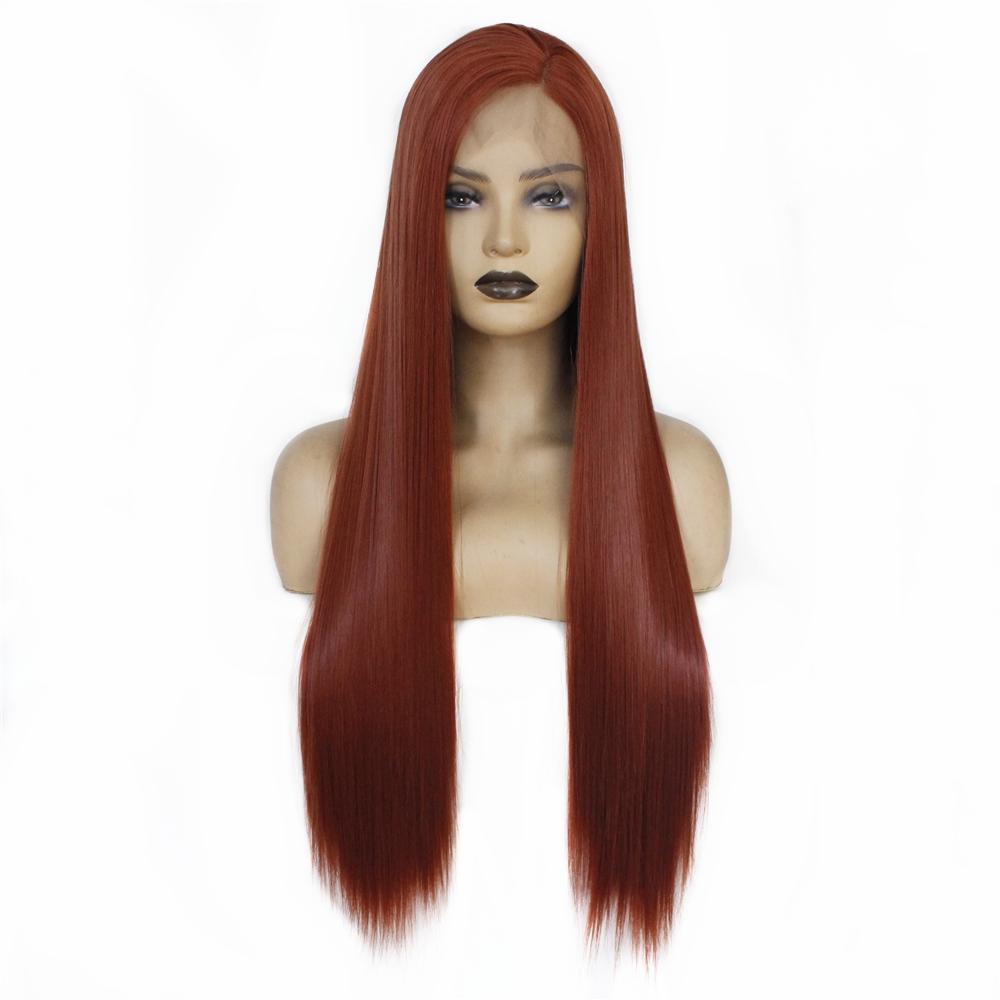 26 Pouces longue ligne droite Auburn synthétique avant de dentelle perruque haute température cheveux Parti cosplay perruques pour les femmes de la mode Raie sur le côté