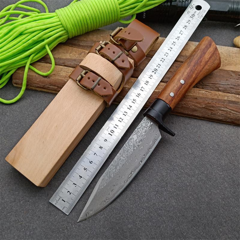 Neuer Ankunfts-Außen Fxied Blatt-Jagd-Messer-Muster-Stahlblatt-Holzstiel Gerade Messer mit Holzscheide