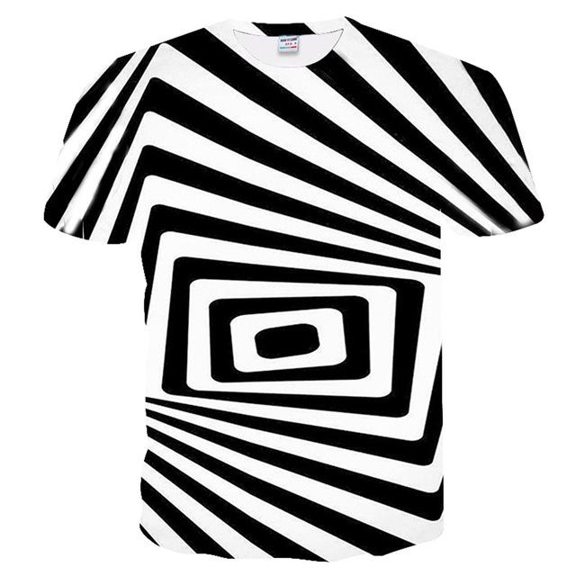 dressing2020 noir et blanc Swirl 3D T-shirt Homme Femme Dizzy T-shirt 3D drôle Hypnotic T-shirt d'été Casual Paisley T-shirt Streetwear