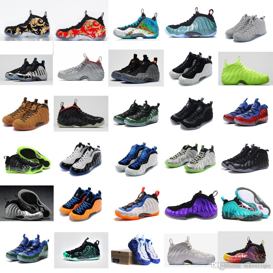 Cheap Men Penny Foams one basketball shoes for sale Weatherman Red Gold Black Green Glow Silver Grey Hardaway Posite sneakers boots with box