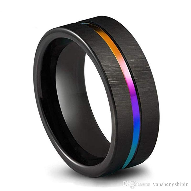 Erkek Takı Siyah Tungsten Karbür Alyans 8mm Renkli Gökkuşağı Yüzük ölçüsü 6-13 Boyut 6-13