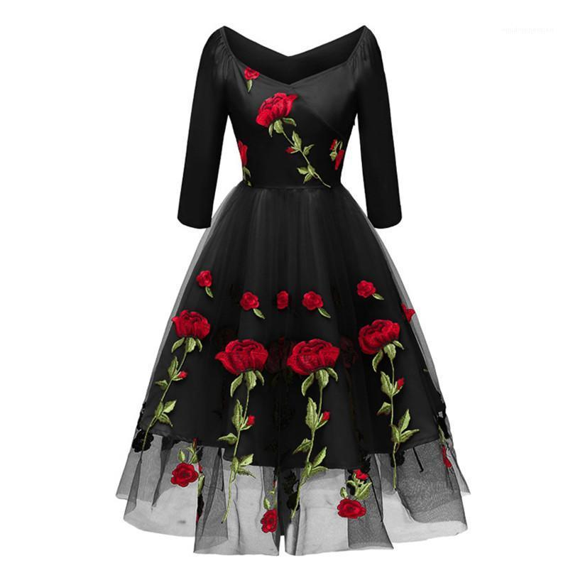 Casual Dresses Fashion Solid Color Guaze Panelled Womens Designer Bridesmaid Dresses Casual Females Clothing Rose Embroidery Womens