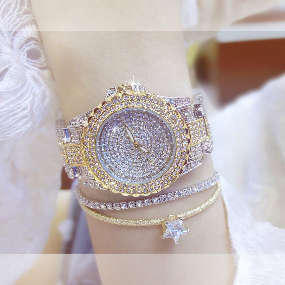 BS elegante del diseñador Reloj de pulsera de moda de lujo del oro diamante Montre Femme las señoras de las mujeres del reloj pulsera Dourado Relogio Femenino CJ191217
