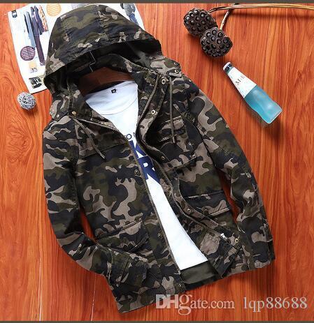 Giacca da uomo autunno primavera Camouflage con cappuccio in cotone Giacche casual Capispalla Cappotti