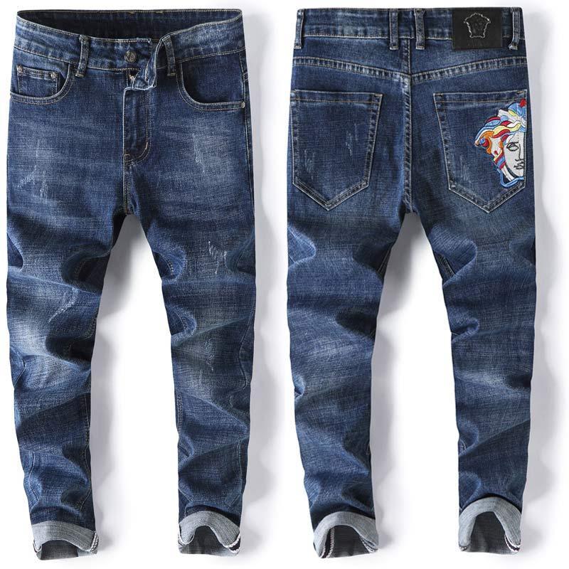 2020 мод мужских джинсов мужских тонких случайных брюки эластичные брюки светло-голубой для сыпучего хлопка джинсы