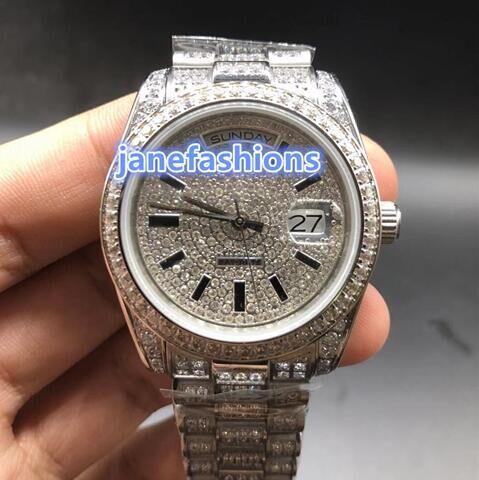 고급 남성의 다이아몬드 최고 패션은 힙합 랩 스타일을보고 밖으로 아이스 완전 자동 이중 달력 스포츠 시계 시계