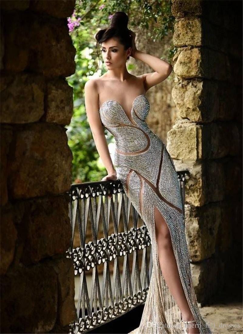 2020 맞춤 제작 파란색 이브닝 드레스 럭셔리 보석 모조 다이아몬드의 투명한 보석 코르셋 인어 층 길이 레드 카펫 연예인 드레스