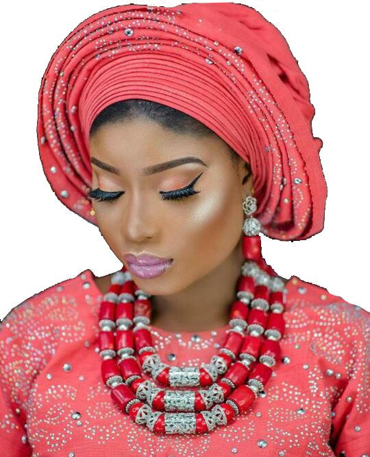 Élégant perles de corail de mariée rouge et argent Ensemble de bijoux Rouge nigérienne africaine réel Corail Perles femmes Ensemble de bijoux CNR067 CJ191203
