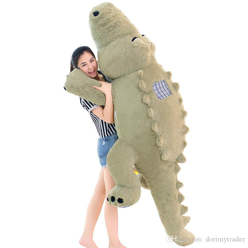 Dorimytrader Jumbo Soft Animal Crocodile Plush Doll Giant Stuffed Cartoon Alligator Toys for Children Gift 4 Colors 180cm 215cm DY60641