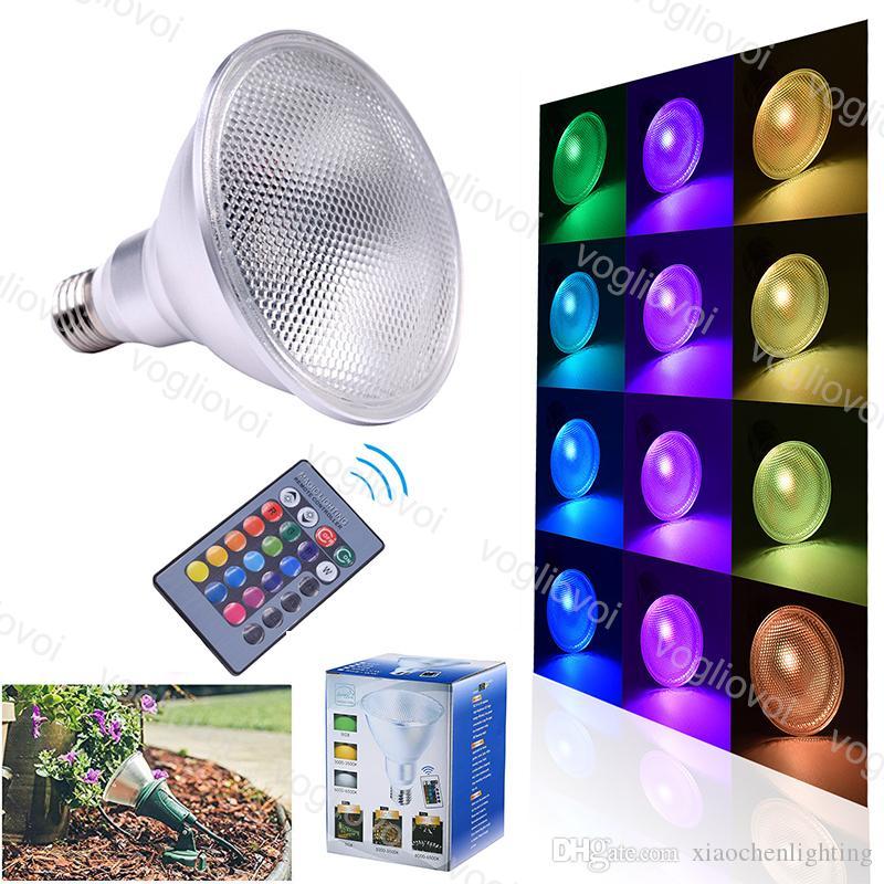 LED 전구 PAR38 10W 20W E27 COB 방수 RGB RGBW RGBWW 24Key 원격 제어 마법의 빛 AC85-265V 야외 정원 DHL에 대 한