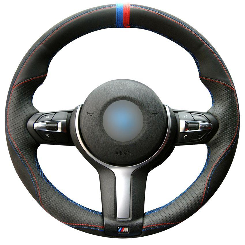 أسود حقيقية التوجيهية جلد السيارات تغطية عجلة القيادة لسيارات BMW M الرياضة F30 F31 F34 F10 F11 F07 F45 F46 F22 F23 M235i M2 المخاطة يدويا