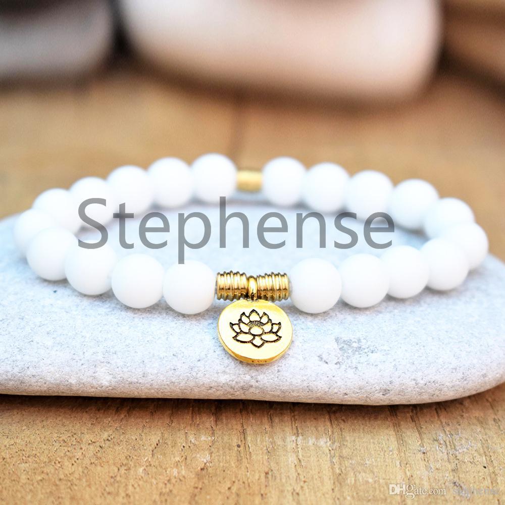 MG0628 2019 новый дизайн женщин Лотос браслет высокое качество оболочки бусины йога браслет горячие продажи сердце чакра мала браслет