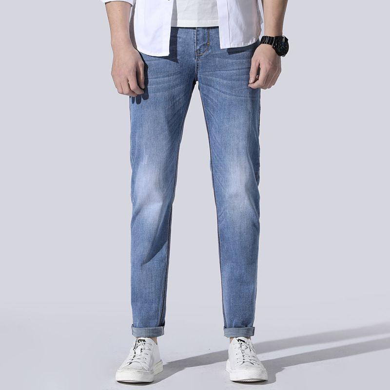 Compre Jeans Man 2019 New Modis Denim Men Azul Claro Jean Hombre Thin Pantalon Jean Homme Tendencia De Moda Hombre Recto Jeans Hombres Slim Fit A 40 49 Del Cluboutfit Dhgate Com