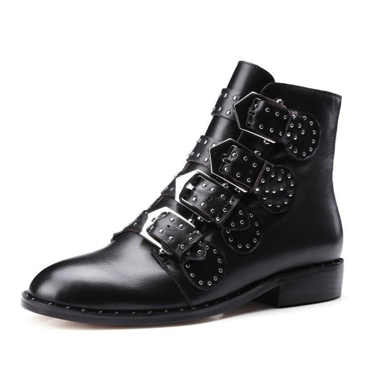 Дизайнер-ApS Толстый каблук Женщины лодыжки Boots Шипованная Украшенная женщина Boots мотоциклов Женский Botas Zapatos Mujer