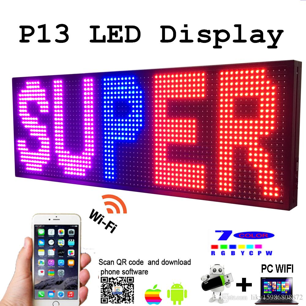"""LED Programmable Electronic P13 RGB COLOR OUTDOOR Sign LED Display 39"""" X 14"""" USB + Phone WIFI Control Open Running Message Board"""