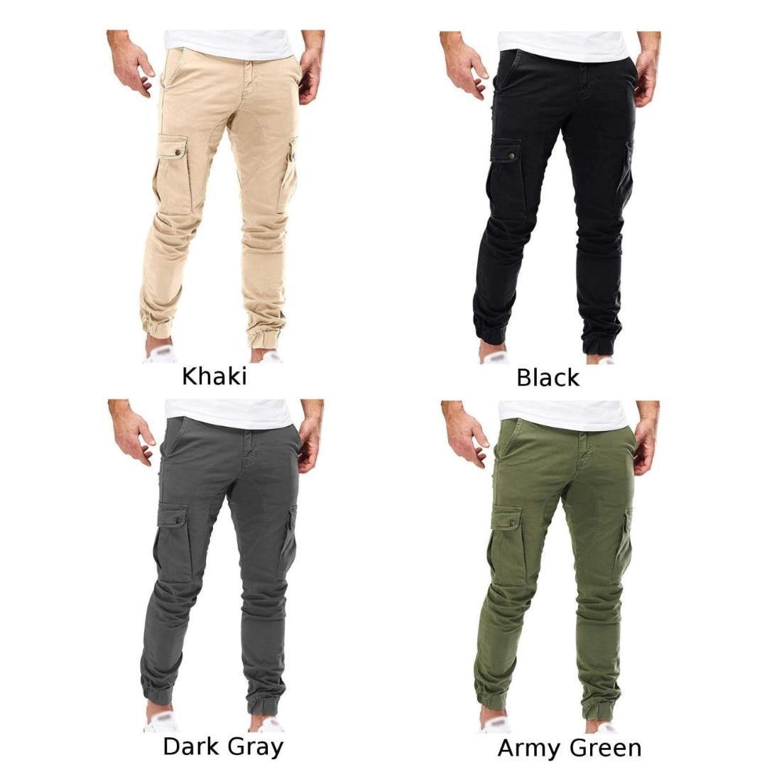 Hommes Pantalons Automne Hiver Casual vrac pantalons cargo Slim Fit Mode Combat Zipper Pantalon Bas Armée Homme