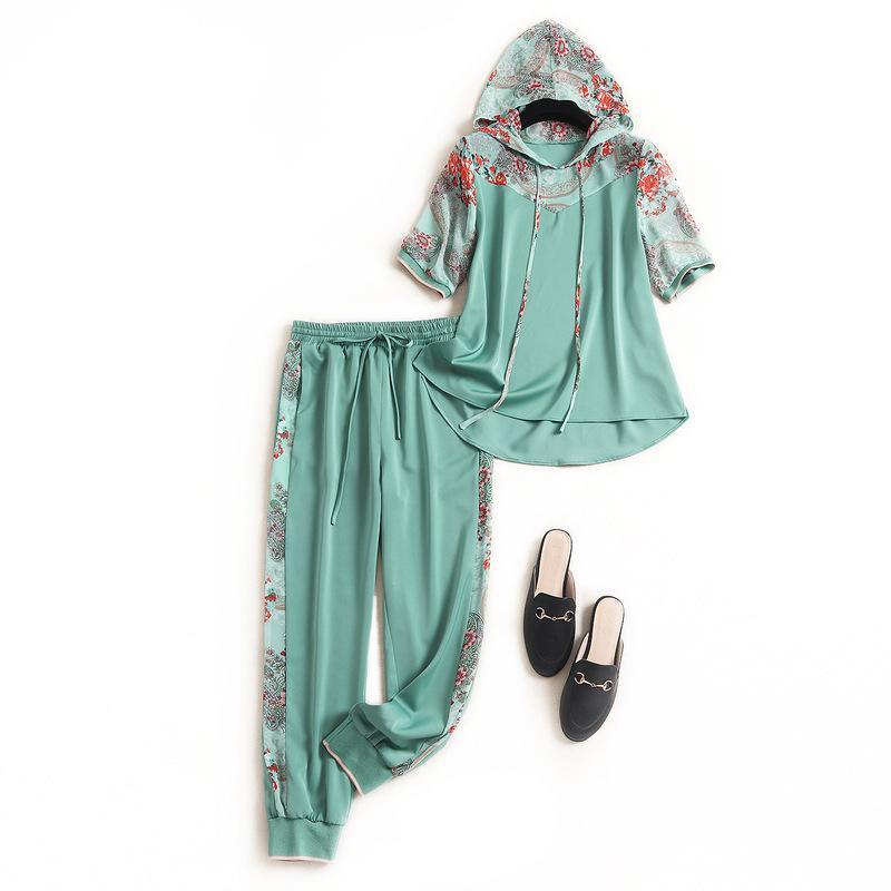Le donne pantaloni casual a due pezzi di estate dei 2020 felpe con cappuccio Maglie a manica corta felpa lato patchwork stampa floreale raso pantaloni attivi