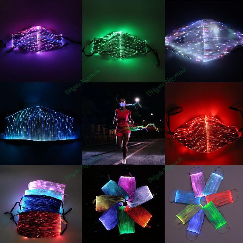 LED الهذيان مصمم وجه أقنعة مضيئة ضوء القناع عن وجهه قناع قابلة لإعادة الاستخدام للجنسين 7 لون الضوء الساطع قناع USB شريط حفلة عيد الميلاد هالوين