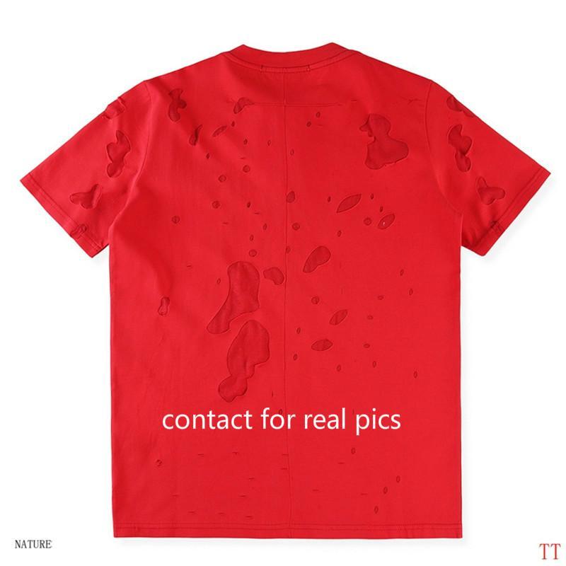 Los hombres de moda T ocasional de la camisa de la camiseta del verano con impresa letra grande del agujero para hombre camisetas Streetwear ropa del tamaño S-3XL XY1882204
