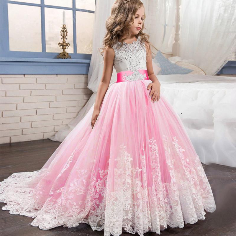 Kid Girl Bodas elegantes Pétalos de perlas Vestido de niña Princesa Fiesta Desfile de encaje de manga larga Tul para 3 4 5 6 7 8 9 10 11 12 años SH190908