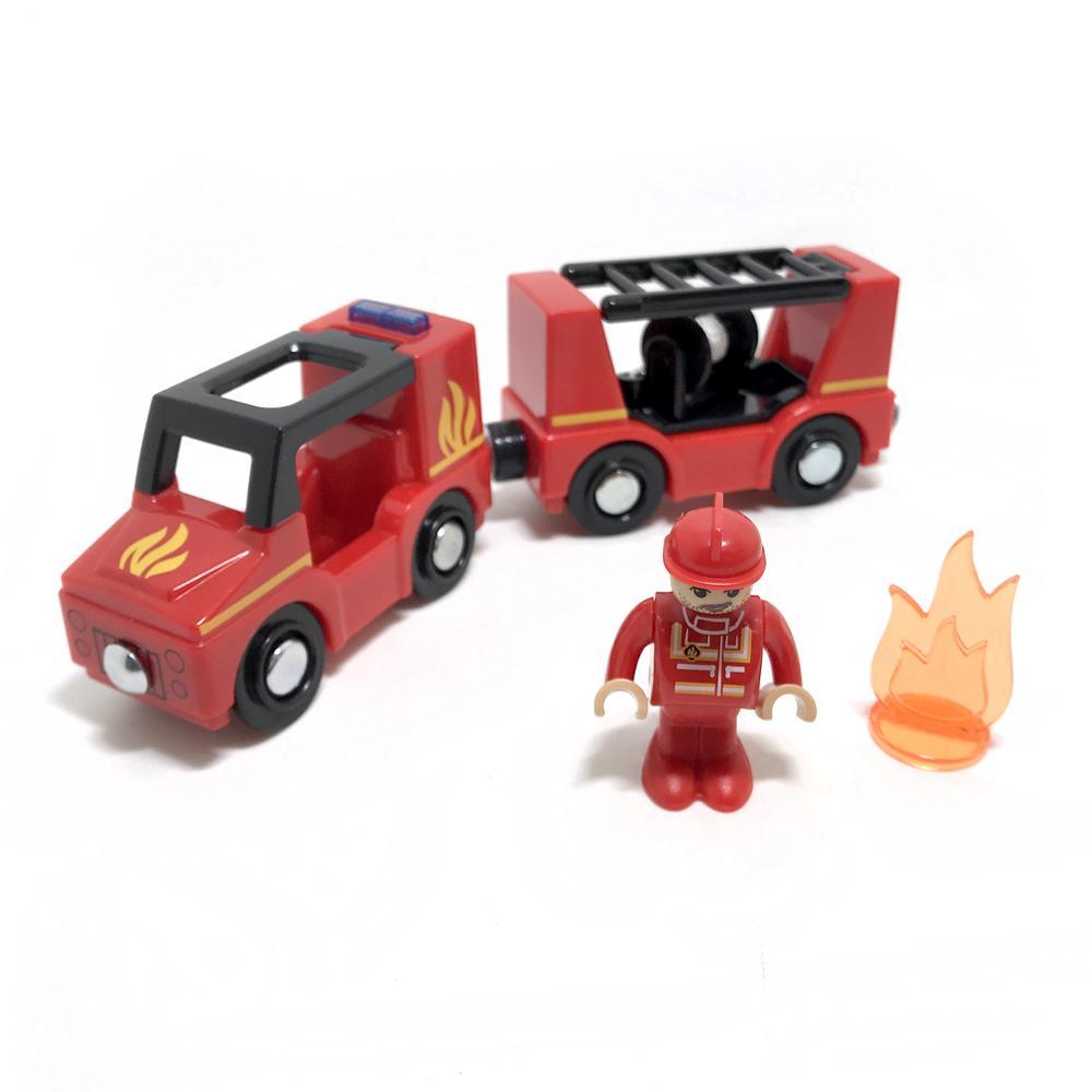 ücretsiz kargo ses ve manyetik trenin ışık araba ambulans polis arabası itfaiye aracı uyumlu brio ahşap palet Çocuk oyuncakları