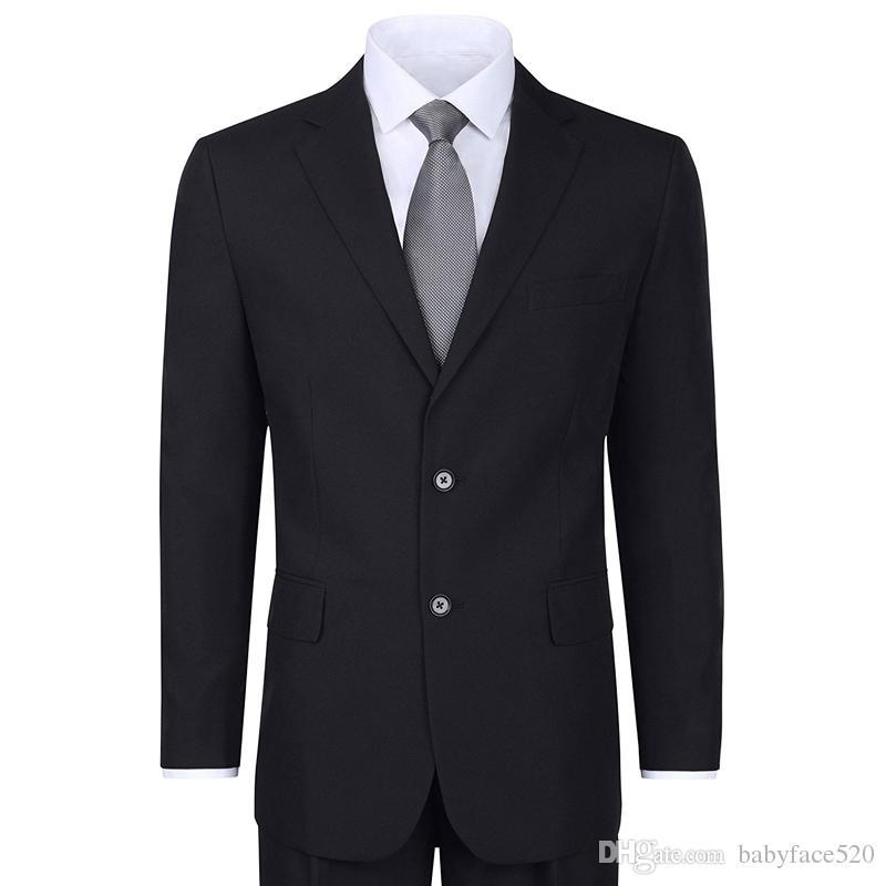 İki Adet Siyah Biçimsel Erkekler Wedding giyisi Çentikli Yaka Klasik Stil İş Parti Damat smokin ceket Pantolon giyin