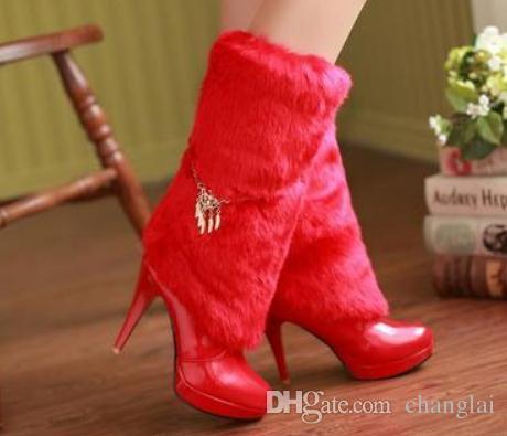 2019 Women's boots in winter with New style High heel fine heel round head waterproof table @2112
