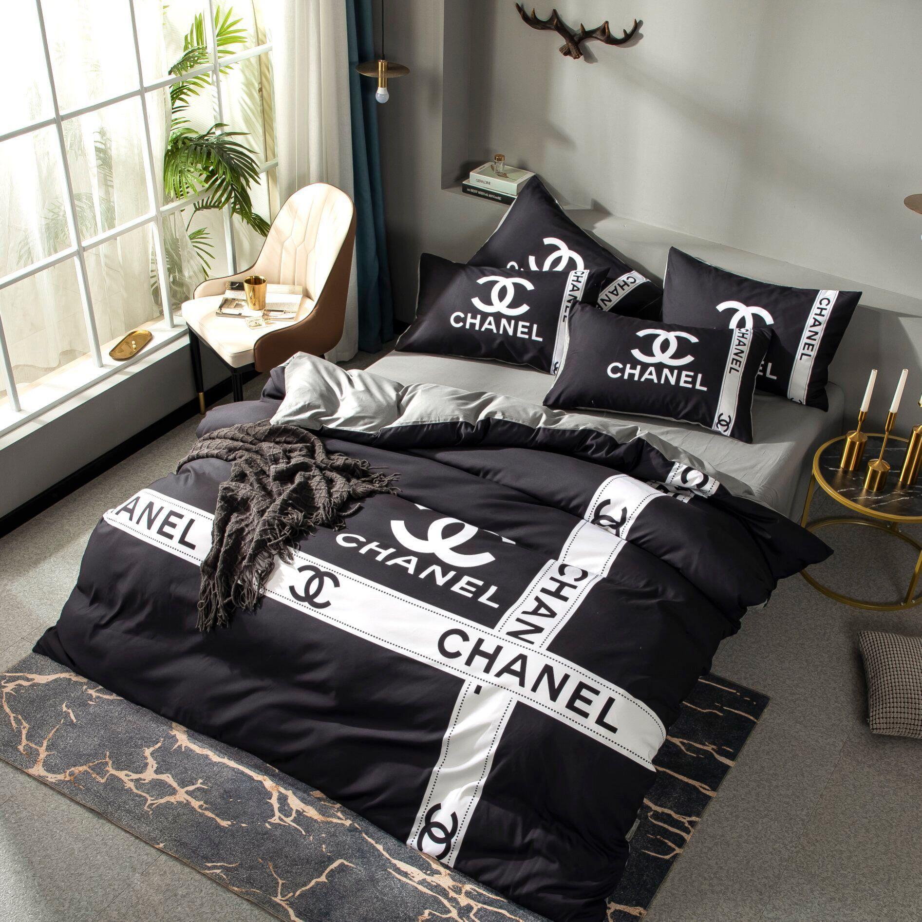 C C conjuntos de ropa de cama de lujo sábanas edredón de diseño conjunto de cubierta de diseño de algodón cama de matrimonio Ropa de cama fija diseñador negro
