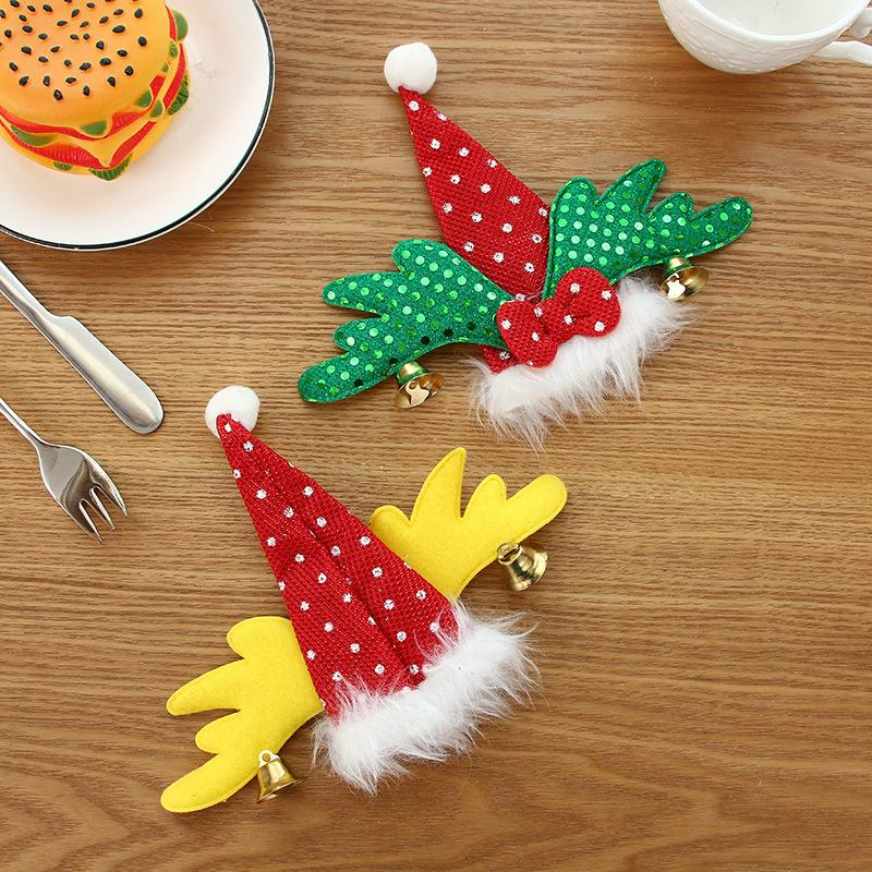Christmas Festival Supplies Knife Fork Bag Festivals Hat Wings Modeling Knifes Forks Sleeve Red Green Wing Cutlery Cover 1 9mg L1