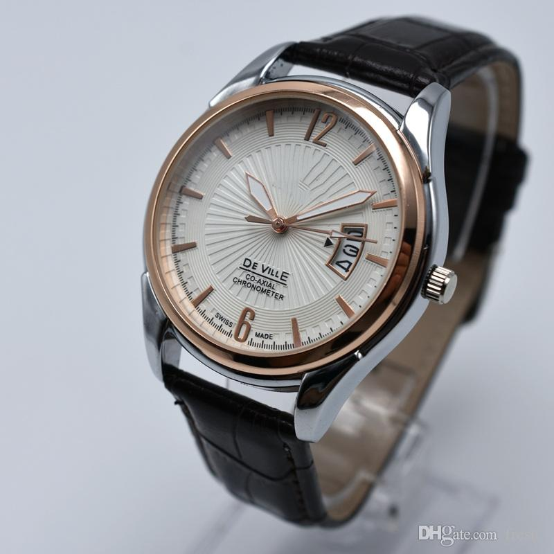 Frete grátis na venda cinto de couro de quartzo 40mm ouro data auto mens relógios 2 estilo analógico homens designer de relógio por atacado homens relógio de pulso presentes
