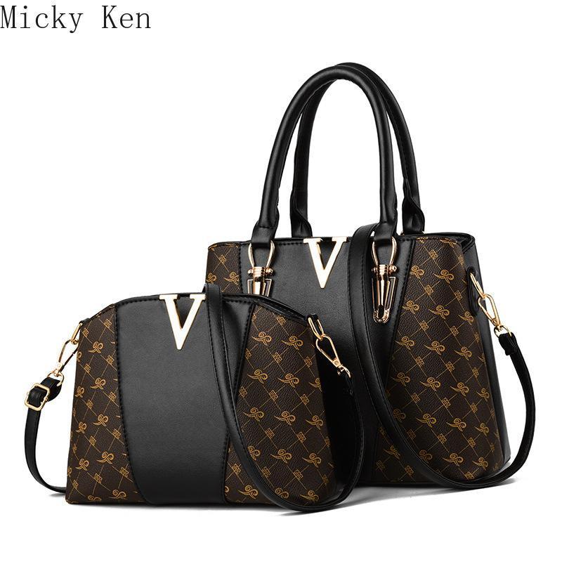 Bolsas de mujeres Set 2 piezas de piel bolso de mano de las mujeres señoras de bolso de hombro del bolso de la Mujer 2019 bolsa de mensajero de Sac a T200102 Principal