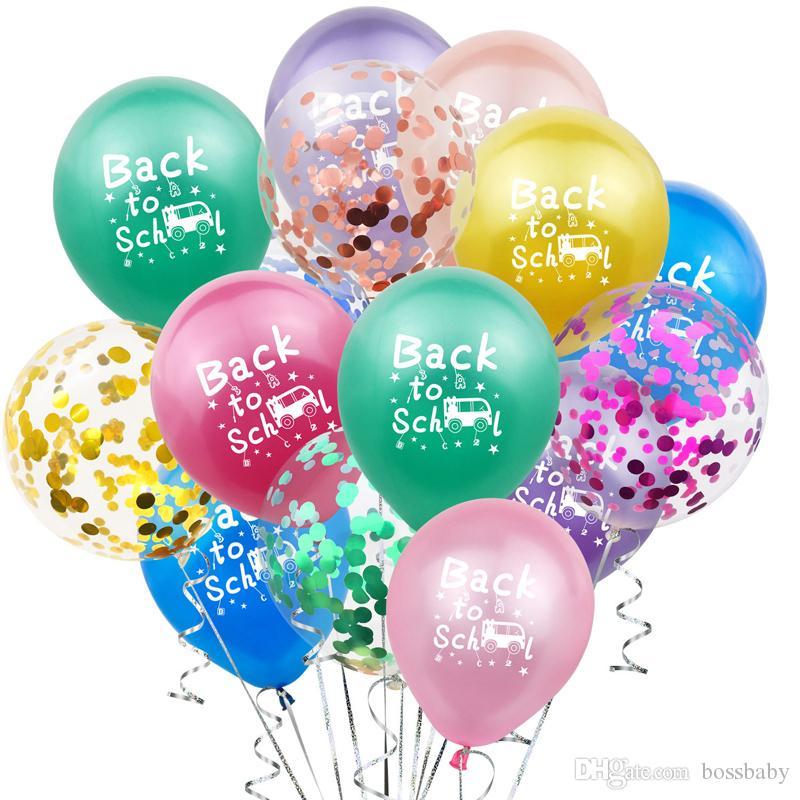 Lateks Renk Pullu Balon Okula Geri Sınıf Parti Otobüs Dekorasyon Balon Karikatür Mektup Yıldız Ay 12 CM Konfeti Balon