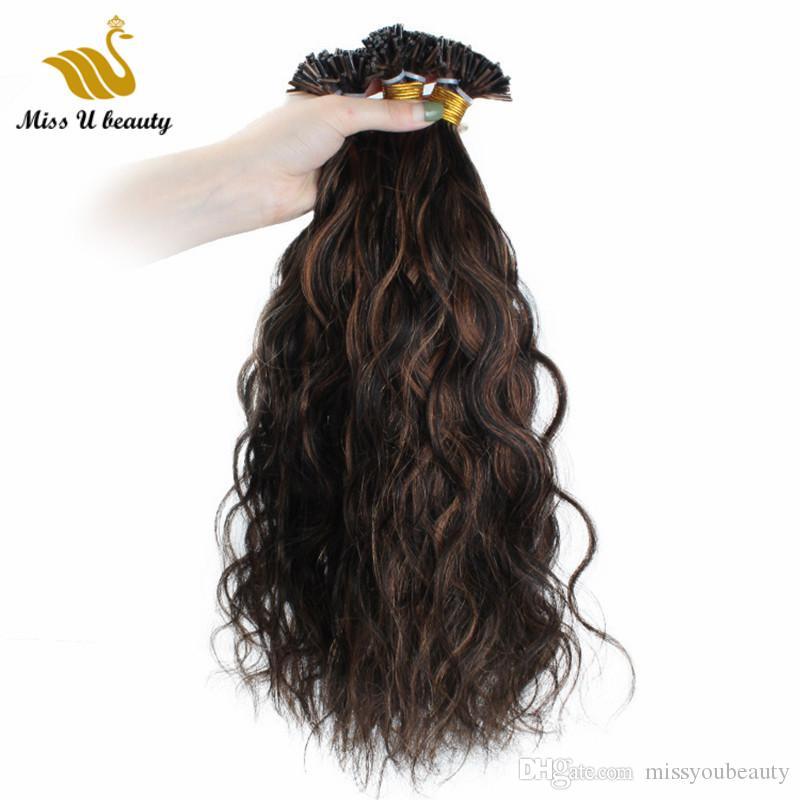 أسود مزيج بني اللون # 1B / # 6 أنا غيض الشعر البشري عالية الجودة علبياف موجة الطبيعية متموجة 100 جرام / حزمة