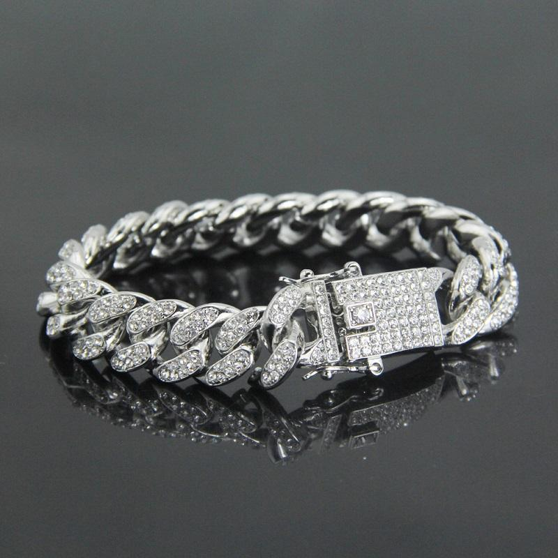Simulated Diamond Iced Out Chain Bracelets Miami Cuban Link Chain Mens Gold Silver Bracelets Hip Hop Jewelry