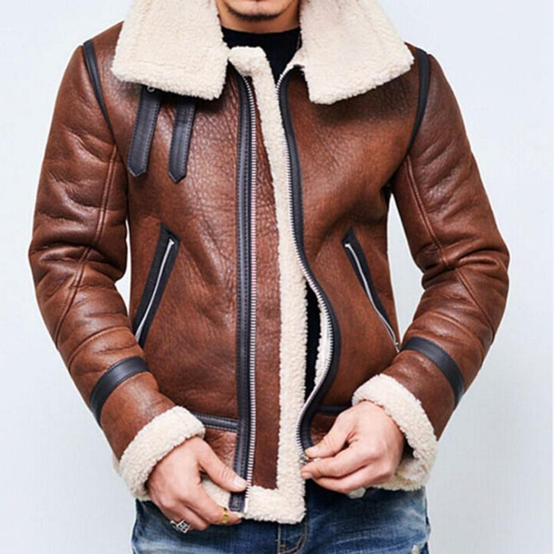 LAAMEI New Fashion Winter Mens Coat Costume Leather Coat Jacket Cosplay Faur Jacket Long-sleeve Winter Outerwear Coats