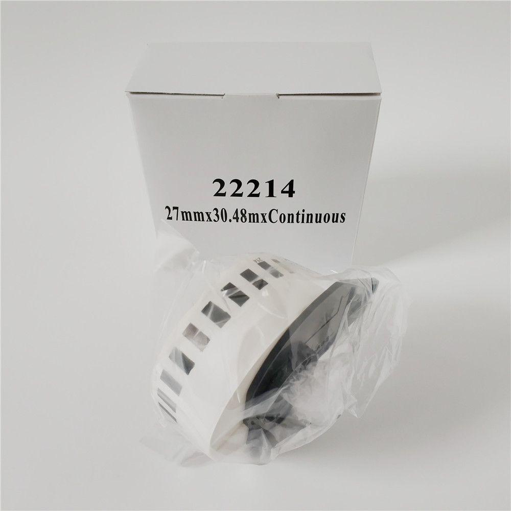 6 рулонов Brother DK 22214 DK-22214 DK22214 DK2214 DK-2214 DK 2214 Совместимые непрерывные этикетки 12 мм x 30,48 м с черной пластиковой шпулей