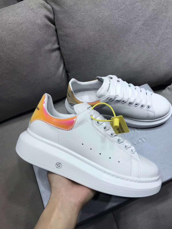 Colorful Reflection Scarpe uomo casual piattaforma di modo di lusso del progettista donne di cuoio delle scarpe da tennis arancione Vintage Trainer Shoes 34-44 HX014