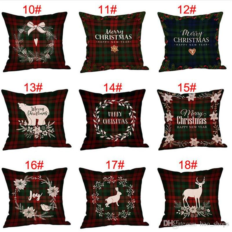 Christmas Decorations Pillow Case Plaid Elk Bear Ptinted Throw Pillow Covers Xams Cotton Linen Sofa Cushion Cover Home Party Pillowcase INS