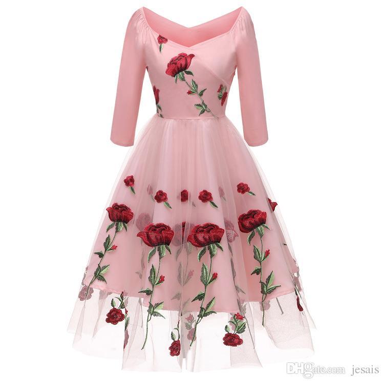 Vestido Três Rose bordado New Moda elegante vestido vintage cores 2020 femininas disponíveis em uma variedade de tamanhos