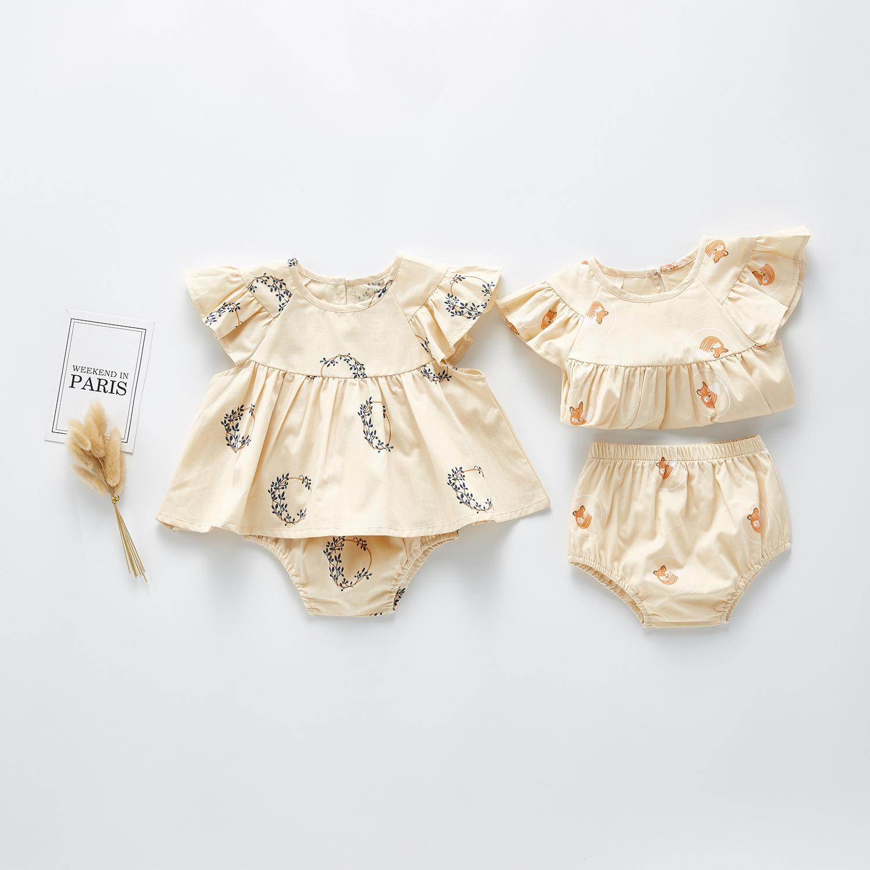 INS bambino neonate dei vestiti del bicchierino di estate elegante nuovo disegni Puro Cotone vestiti dei bambini vestiti + pantaloni 2pieces Set