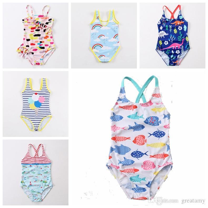 2019 new design baby girls swimwear swan fish car rainbow dianasour balloon printed cute babies beah wear kids children bathing suit