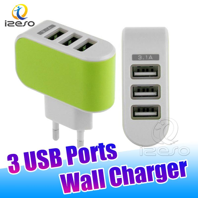 3 Ports 5V 3.1A USB Power Adapter Colorful LED Home Travel Wall Charger for Huawei LG Android Phones in OPP Bag izeso