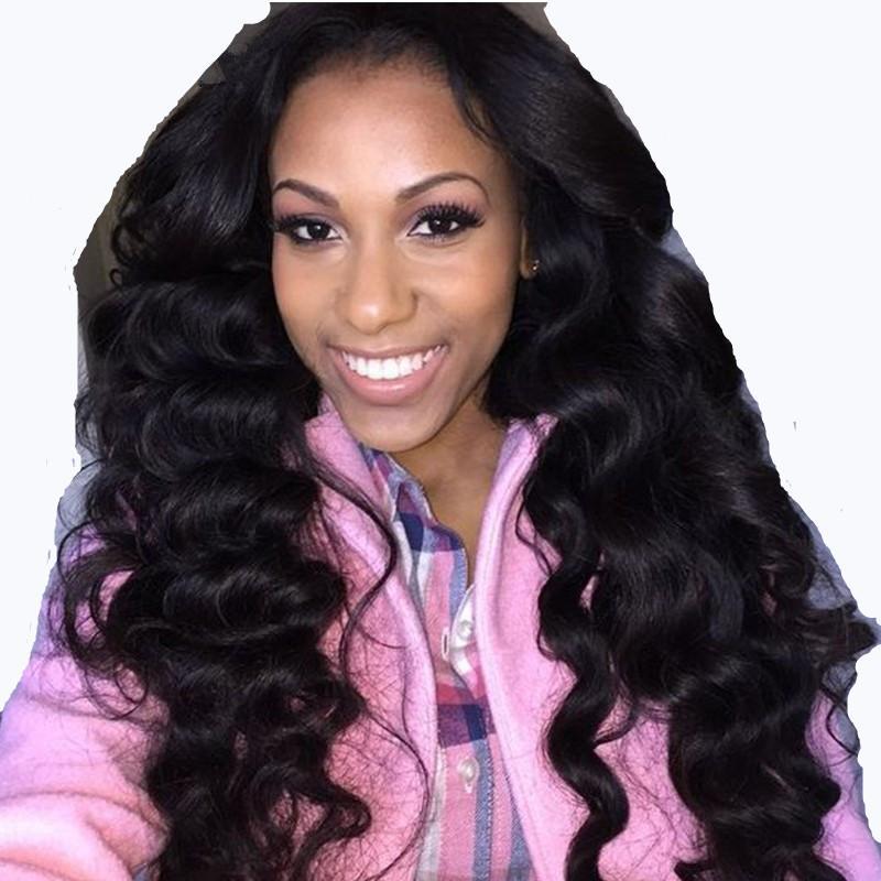 Merletto pieno Glueless 180% superiore densità di qualità dei capelli umani parrucche con bambino corpo dei capelli dell'onda brasiliana linea sottile naturale con candeggina Nodi