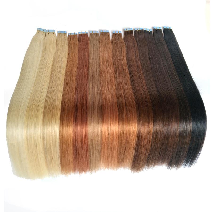 Fita em extensões de cabelo humano extensões de cabelo de trama de pele 100g / 40pieces cabelo brasileiro Hablonde lados duplos adesivo frete grátis