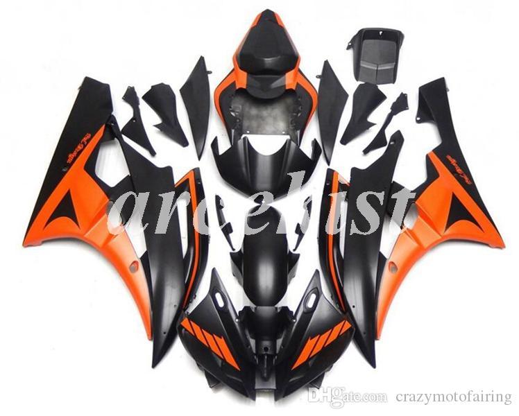 Nueva inyección ABS moho motocicleta carenados Fit Kit para YAMAHA YZF-R6 2006 2007 06 07 R6 Mate Naranja Negro