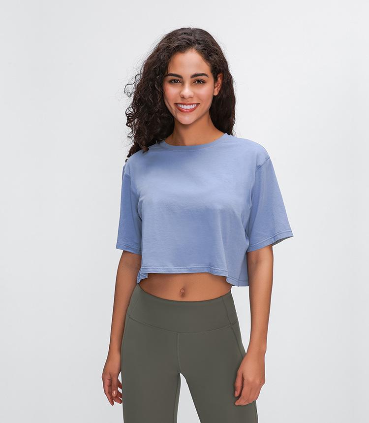 رياضة القطن النقية الجديدة تعمل قميص لياقة عادية قصير مثير السرة تجفف بسرعة قميص يوغا قابل للتنفس