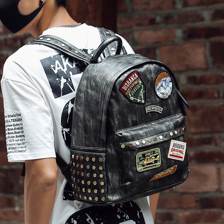 Корейский личности Ping Лю мужской медаль рюкзак простой клоун водонепроницаемый PU досуг сумка