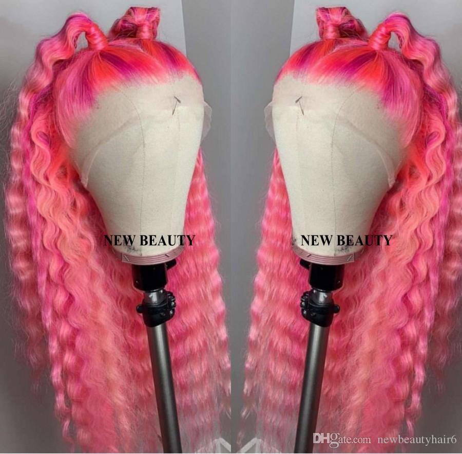 새로운 핑크색 느슨한 둥근 합성 레이스 프론트 가발 Pre Plucked Perruque Frontal 브라질 여성용 가발 표백제