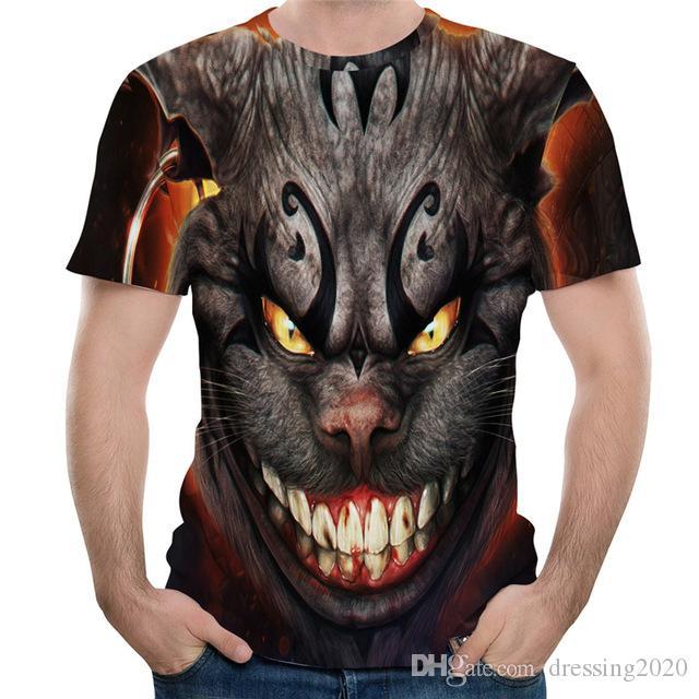 dressing2020 3D Azılı hayvan baskı tişört kan dişler Tee Gömlek Anime Canavar Baskılı Komik tişört Yaz Sokak Modası Marka 3D Tshirts