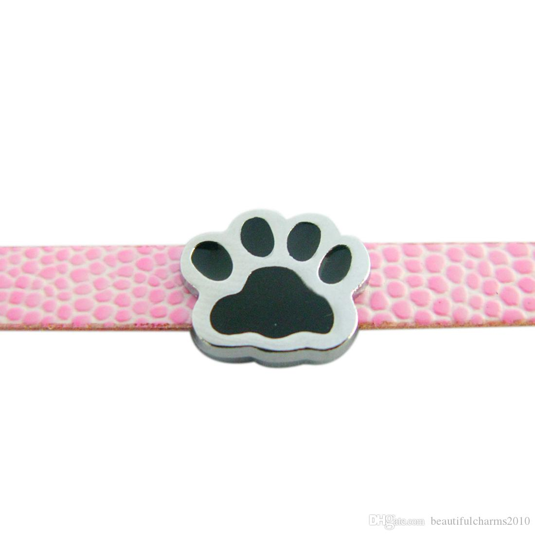 Großhandel 50 teile / los 8mm schwarze pfote diacharme fit für 8mm DIY Zubehör hundehalsband armband armband